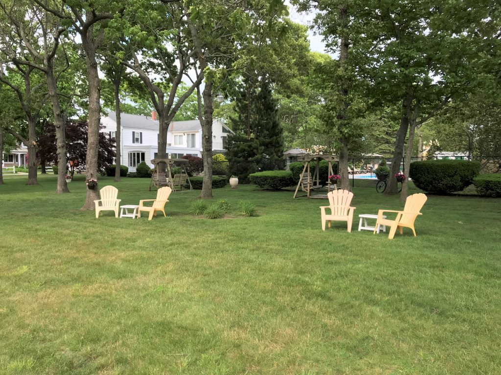 Adirondack chairs on the front lawns