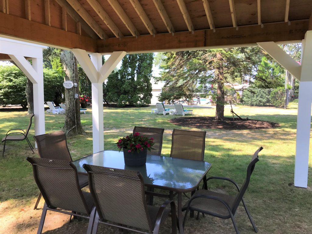 Gazebo with table and chairs