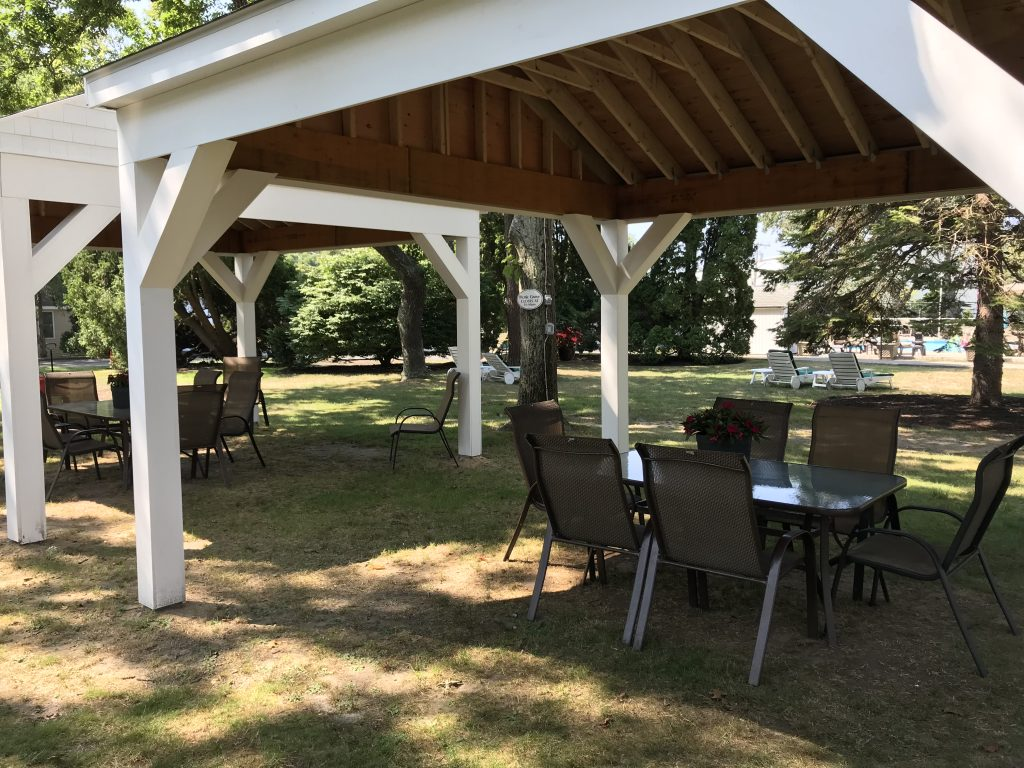 Gazebo with table and chairs makes a great meeting area