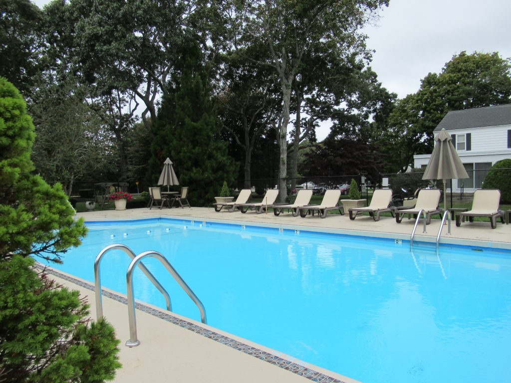 The swimming pool and chaise lounges