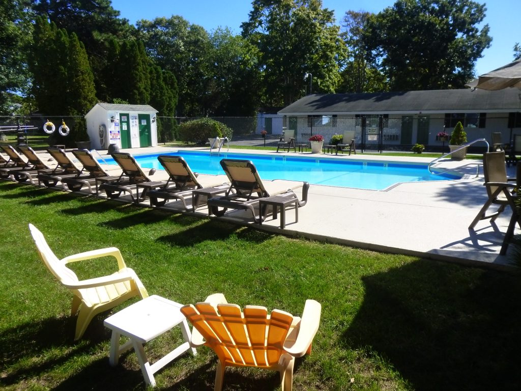 The pool area at Falmouth Heights Motor Lodge